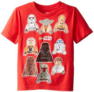 Star Wars Boys' T-Shirt, Lego Red, 7