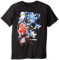 Lego Big Boys' Ninjago Group Shot T-Shirt, Black, 10/12