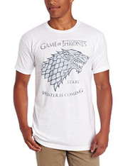 HBO'S Game of Thrones Men's Stark Sigil T-Shirt, White, Large