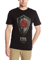 HBO'S Game Of Thrones Men's Targaryen Shield Short Sleeve T-Shirt, Black, Large