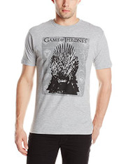 HBO'S Game Of Thrones Men's Iron Throne Short Sleeve T-Shirt, Grey Heather, Large