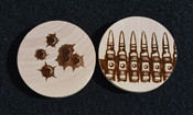Bullets wooden coin 2.3 inchs