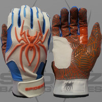 "2015 Spiderz Hybrid ""Miami Vice"" White, Columbia Blue, Orange Batting Gloves"
