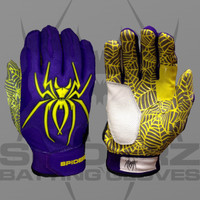 2015 Spiderz Hybrid Purple/Yellow Batting Gloves