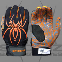 2016 Spiderz Hybrid Black/Orange Batting Gloves