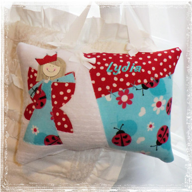 Girls Personalized Tooth Fairy Pillow - Aqua Ladybugs