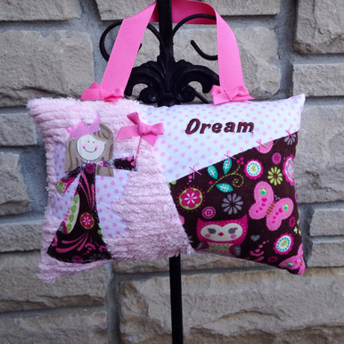 Girls Personalized Tooth Fairy Pillow - pink brown owls