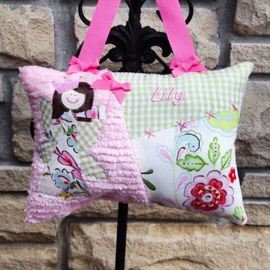 Girls Personalized Tooth Fairy Pillow - vintage floral