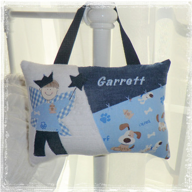 Personalized Boys Tooth Fairy Pillow - puppy dogs