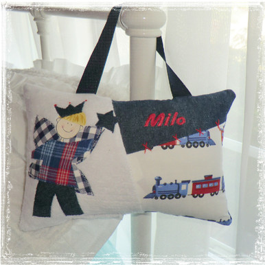 Personalized Boys Tooth Fairy Pillow - trains