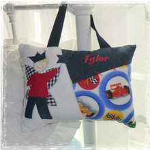 Personalized Boys Tooth Fairy Pillow - race cars
