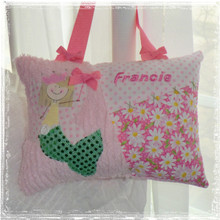 Girls Personalized Tooth Fairy Pillow - daisy mermaid