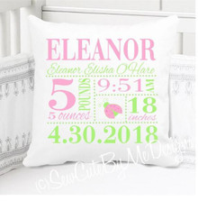 birth announcement pillow - pink and green ladybug