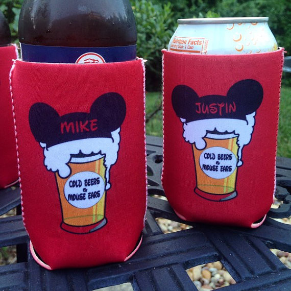 bachelorette coolie koozie personalized for can or bottle mouse ears and beers close up