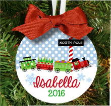 Christmas Tree Ornament - Personalized Girls Train