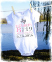 Baby girls t shirt onesie - birth stats - pink and grey