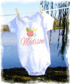 Baby girls t shirt onesie - personalized - coral floral