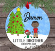 Christmas Ornament – Personalized little brother - dark skin