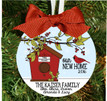 Christmas Tree Ornament – Personalized New Home Cardinal Birdhouse with House Address, Family Names
