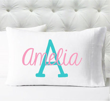 Personalized pillow case - girls pink and aqua initial - case only - pillow not included