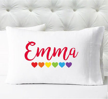 Personalized pillow case - girls hearts - case only - pillow not included