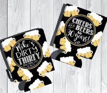 Koozies - Cheers and Beers - Black with Beer Mugs