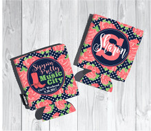 Koozies - Sippin Pretty in Music City - Coral Lime floral