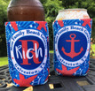 Koozies - Beach Vacation - Sand Dollar -Blue Red