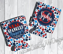 Fourth Of July KOOZIES ® - Star Spangled Hammered - Personalized Can/Bottle Coolers - 4th of July