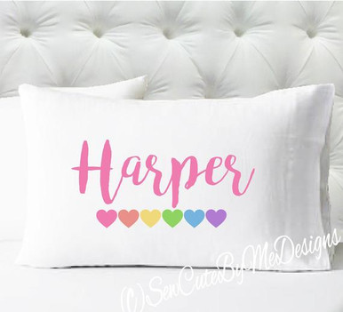 Personalized pillow case - girls pastel hearts - case only - pillow not included