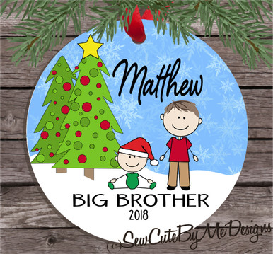 Christmas Ornament – Personalized big brother - Light skin