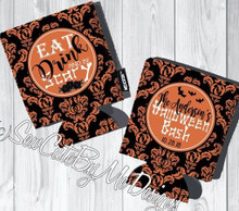 Koozies - Halloween - Damask - Eat Drink and Be Scary