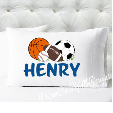Personalized pillow case - boys sports pillowcase only - pillow not included