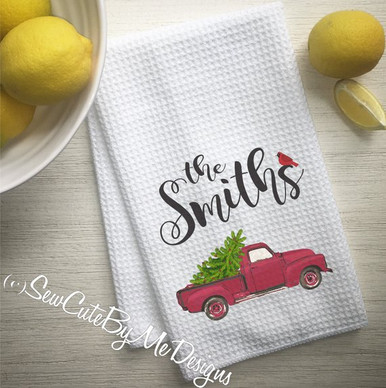Personalized Christmas Kitchen Towel - Red Truck Hauling Christmas Tree