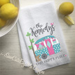 Personalized Camper Kitchen Towel - Personalized Camping Kitchen Towels - Home is Where You Park It - Aqua Pink - with custom pets