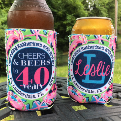 Cheers and Beers Birthday Beach Koozies - pink crabs