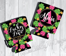 St. Patrick's Day Koozies or coolies - Pink Shamrocks - graphics