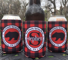 Mountain Vacation Koozies or coolies - Buffalo Plaid Bear - set