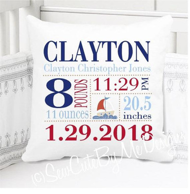 Boys Birth Announcement  Pillow / Birth Stats Pillow Personalized with Baby's Stats – sailboat Nursery