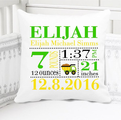 Boys Birth Announcement Pillow Personalized with Baby's Stats – Birth Stats Pillow - Construction Dump Truck Nursery