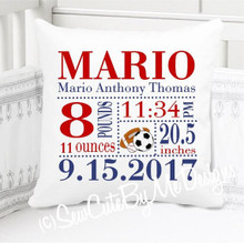 Boys Birth Announcement Pillow Personalized with Baby's Stats – Sports Nursery