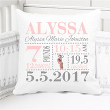 Birth Announcement Pillow - Girls Ballet - Personalized Pillowcase and Pillow Insert
