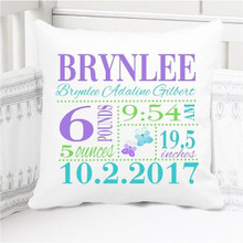 Birth Announcement Pillow - Girls Nojo Butterfly - Personalized Pillowcase and Pillow Insert