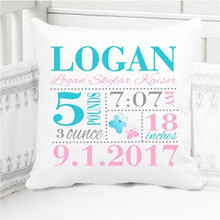 Birth Announcement Pillow - Girls pink aqua Butterfly - Personalized Pillowcase and Pillow Insert