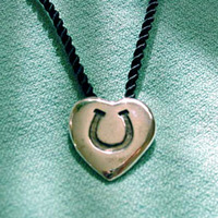 Sterling Silver Hoofprint on Heart Pendant