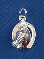 Sterling Silver Horse Head in a Horseshoe Charm or Pendant