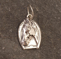 Sterling Silver Horse Head in Horseshoe Charm or Pendant