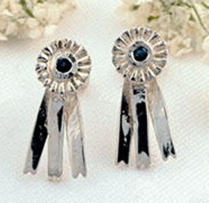Sterling Silver Horseshow Ribbon Earrings  with Sapphires