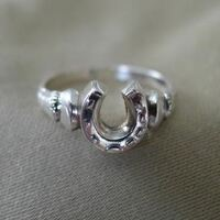 Sterling Silver Horseshoe and Horse Hooves Ring