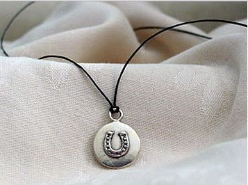Sterling Silver Horseshoe Disc Pendant
